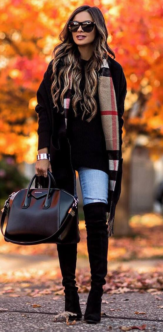 cool outfit idea / plaid scarf + bag + jeans + over knee boots + black sweater + cardi