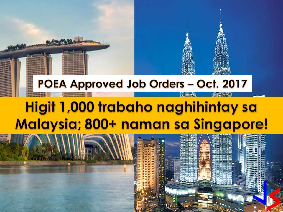 The following are job orders from Philippine Overseas Employment Administration (POEA) for the countries - Singapore and Malaysia.  Interested applicants may apply directly to recruitment agencies attached to every job listed below.  We are not affiliated with any of these recruitment agencies and all contract you entered into is at your own risk and account.