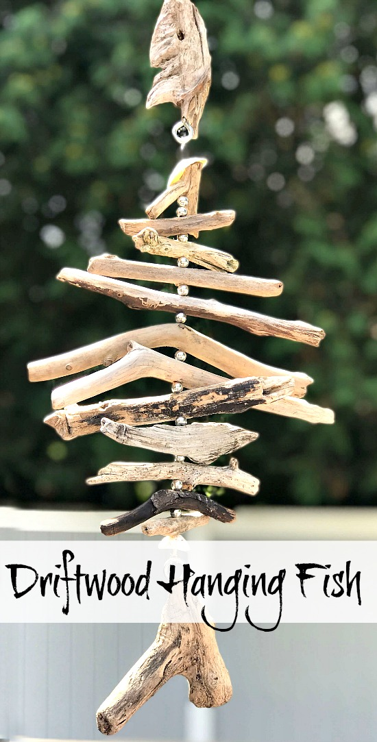 Driftwood Fish Wind chime from drift wood and silver beads