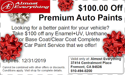 Discount Coupon $100 Off Premium Auto Paint Sale December 2019