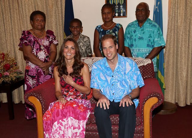 Kate Middleton in floral headdress during Solomon Islands visit