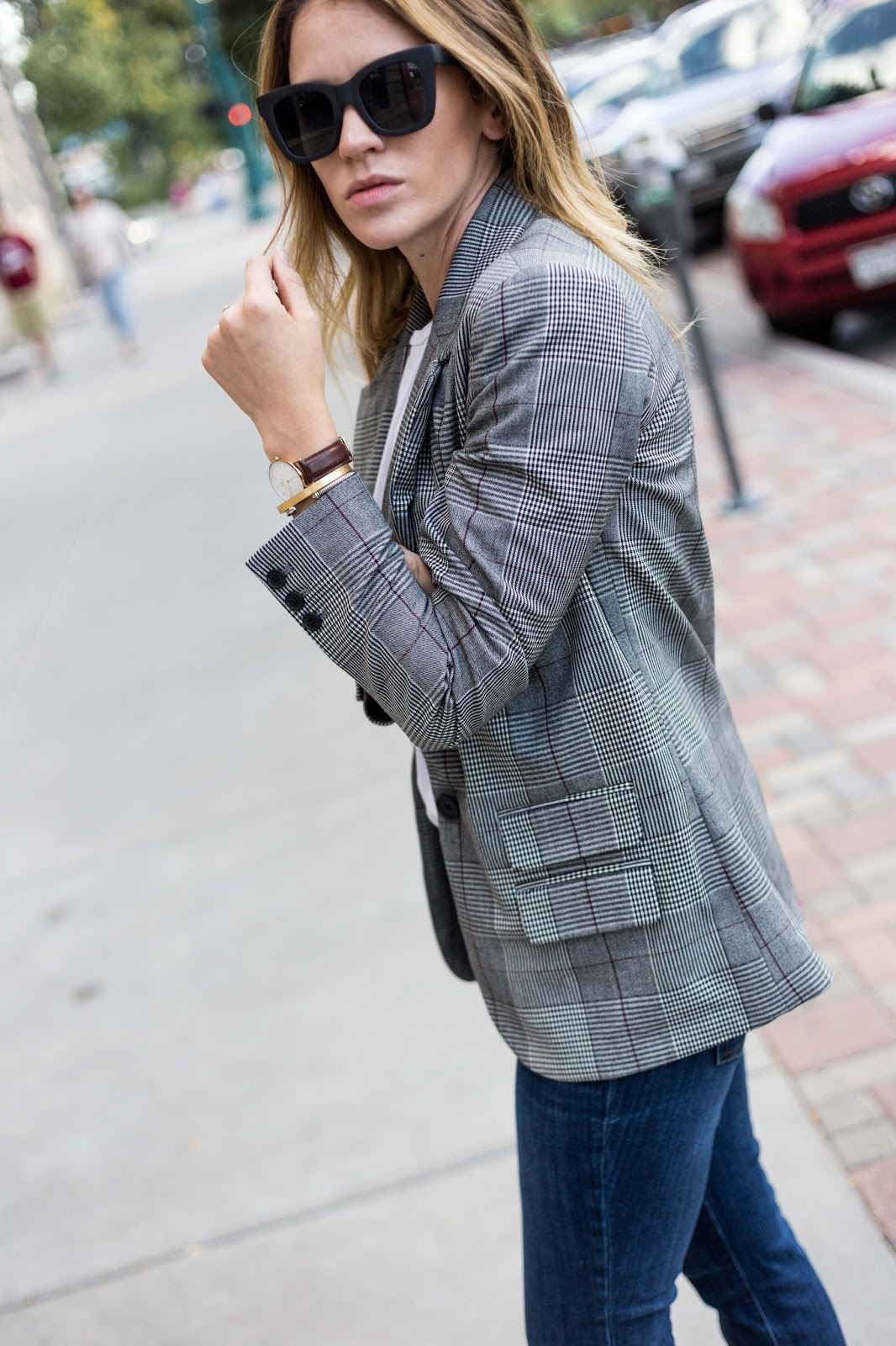 Boyfriend Blazer In Plaid Pattern - Boyfriend Blazer by Colorado fashion blogger Eat Pray Wear Love