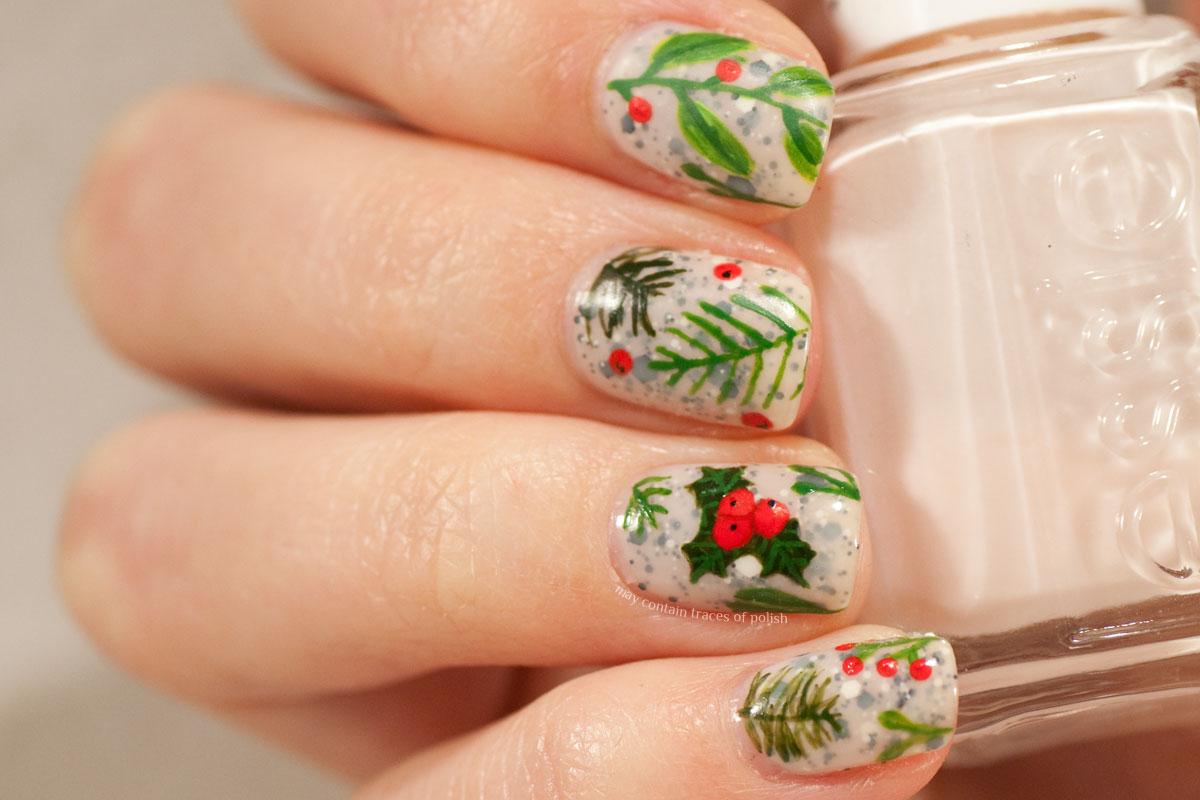 Christmas Greens Nail Art Design - Festive Manicure