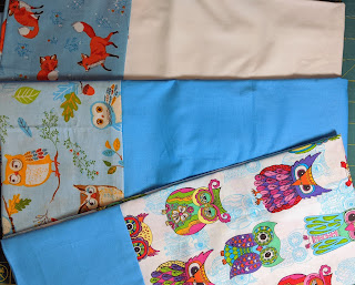 Novelty prints of owls and foxes are used to make three pillowcases.
