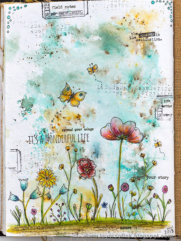 Layers of ink - Doodled Wildflowers Journal Page by Anna-Karin Evaldsson.
