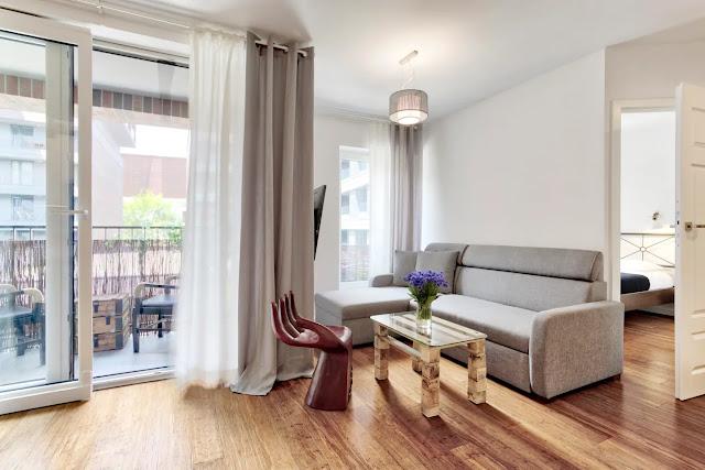 Best apartment krakow holiday rental short term bamboo floor grey white artistic interior