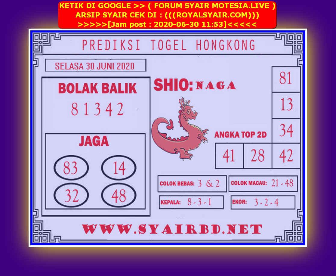 Kode syair Hongkong Selasa 30 Juni 2020 192