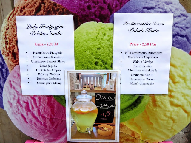 What to eat in Warsaw: Lody Tradycyjne ice cream menu