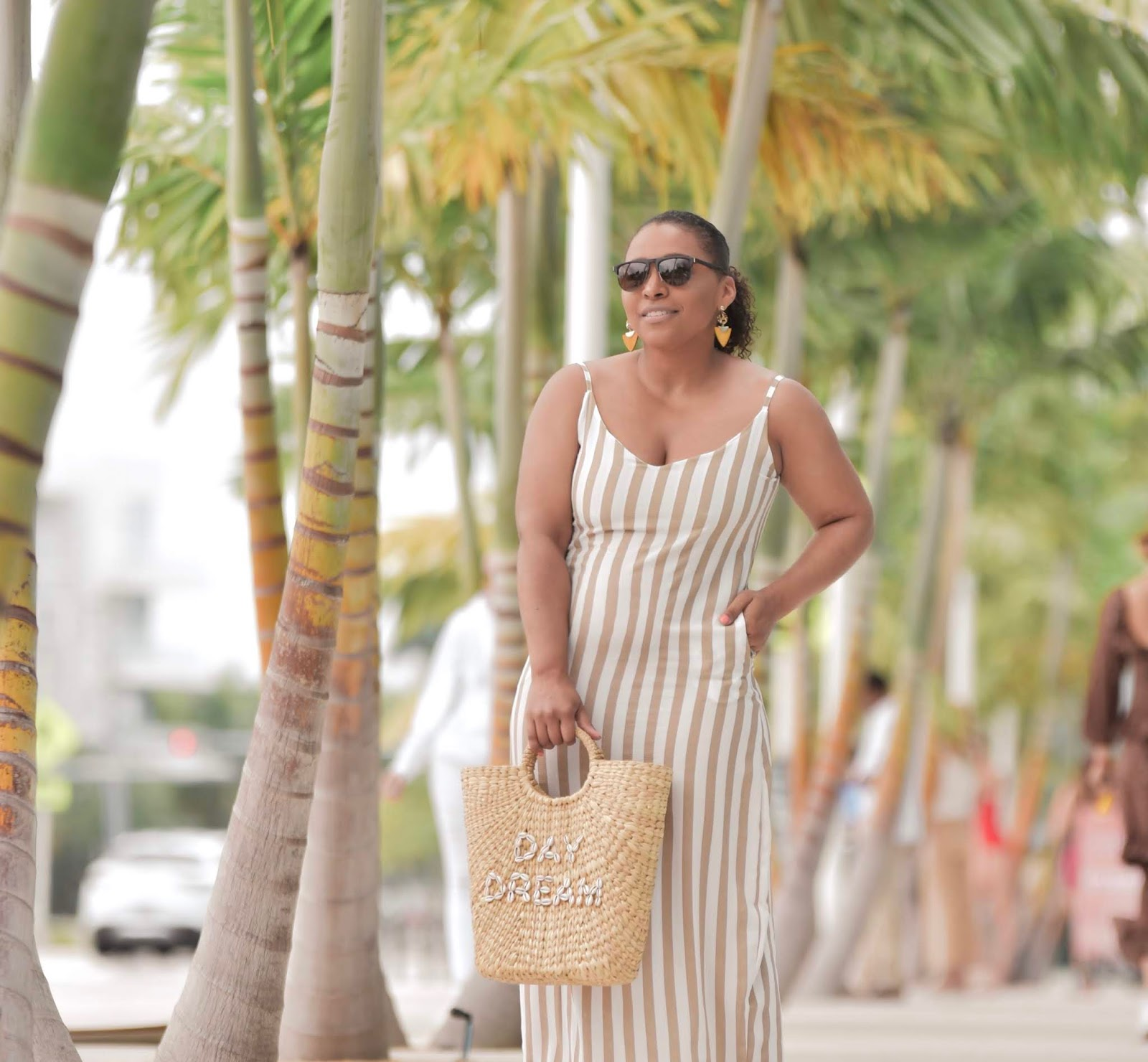 Monday Swimwear, Miami Swimweek, amiclubwear, maxi dress, maxi dress with pockets, striped maxi dress, summer outfit ideas
