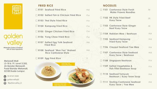 Golden Valley KL delivery menu