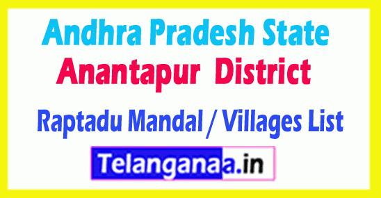 Raptadu Mandal Villages Codes Anantapur District Andhra Pradesh State India