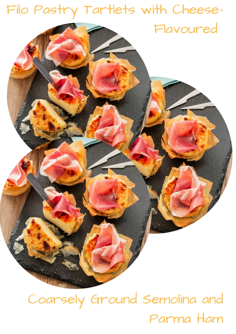 Filo Pastry Tartlets With Cheese-Flavoured Coarsely Ground Semolina And Parma Ham
