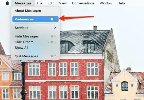 لقطة شاشة تعرض قسم التفضيلات لتطبيق رسائل Mac