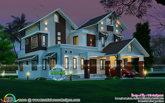 2963 sq-ft beautiful sloping roof mix house