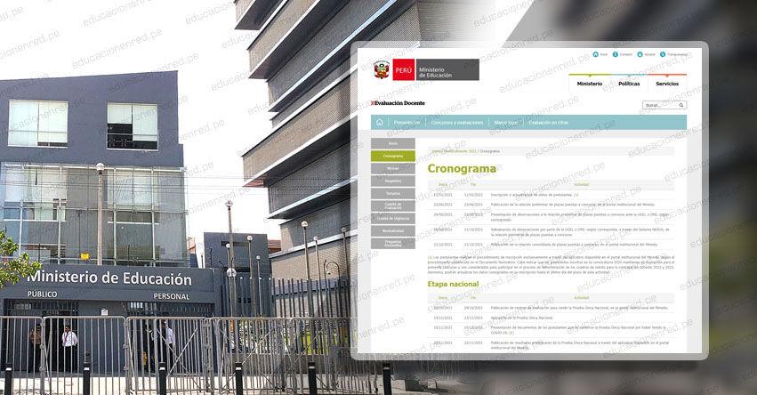 MINEDU publicó Nuevo Cronograma del Concurso de Nombramiento Docente 2021. Prueba Única Nacional Sábado 13 Noviembre (R. VM. N° 284-2021-MINEDU)