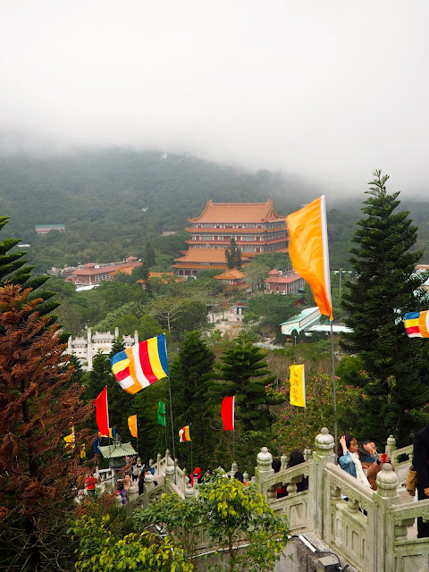 View of Po Lin Monastery buildings from the top of the Big Buddha hill, Ngong Ping, Lantau Island, Hong Kong