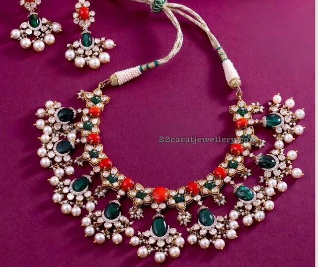 Coral Polki Choker by Krishna Diamonds