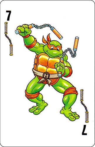 Baraja infantil Las Tortugas Ninja Fournier Carta Michelangelo 7