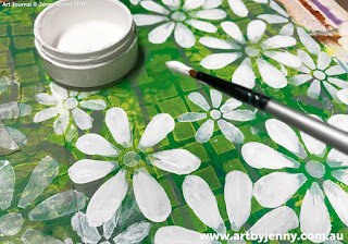 painting flowers on Jenny's garden of daisies art journal page step-by-step tutorial