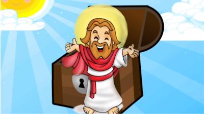Jesus ao lado de um baú de tesouros