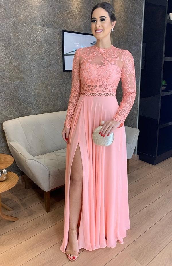 vestido longo  pessego para madrinha de casamento