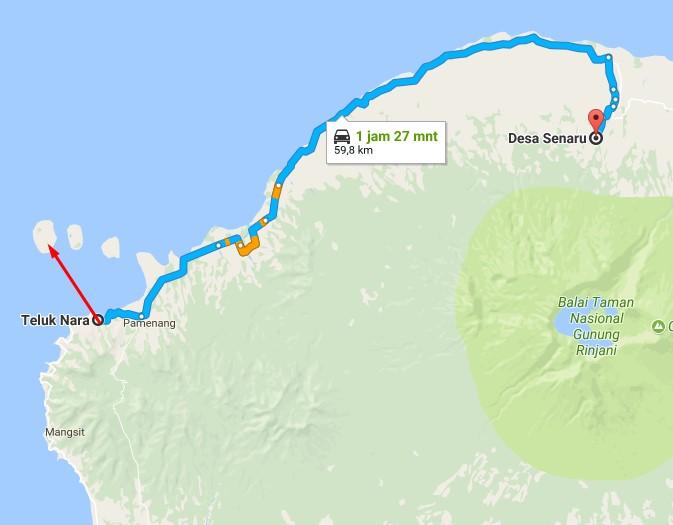 Map Wisata Gili Trawangan
