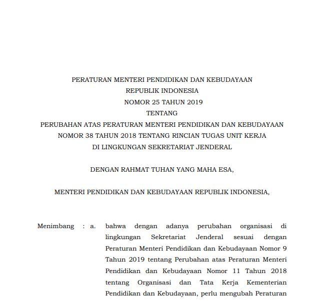 Permendikbud Nomor 25 Tahun 2019 tentang Rincian Tugas Unit Kerja di Lingkungan Sekjen