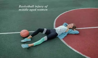 Basketball and middle aged woman