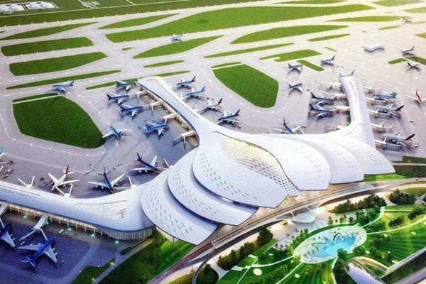 phối cảnh mô hình sân bay long thành nhìn từ trên cao