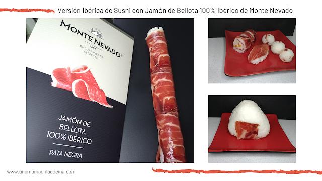 Versión Ibérica de Sushi con Jamón de Bellota 100% Ibérico de Monte Nevado