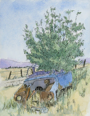 abandoned pen watercolor Chevy truck pickup
