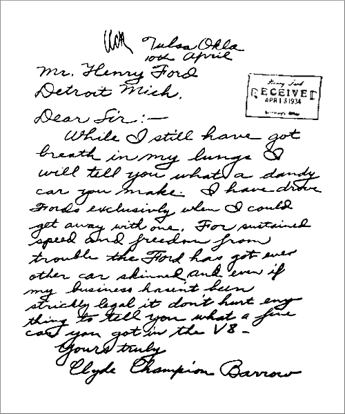 Fornology.com : Bonnie and Clyde's Letter to Henry Ford