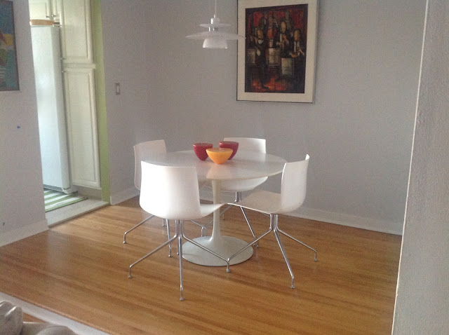restore chipped laminate on Saarinen pedestal table