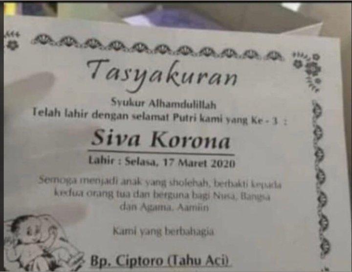 """Viral, Lahir Seorang Bayi dengan Nama """"Korona"""""""