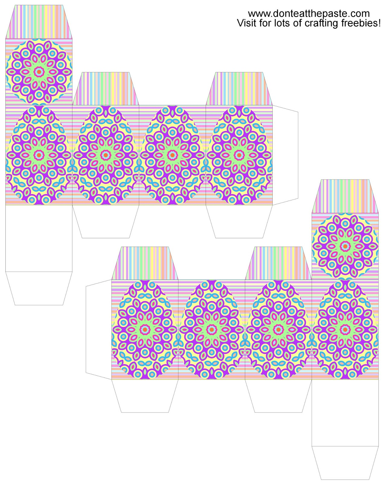 Printable creme egg box in bright pastels- boxes
