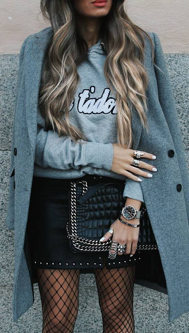 street style addiction: coat + top + skirt