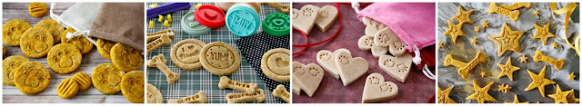A collage of DIY dog treat decorating ideas for homemade treats with stamped patterns