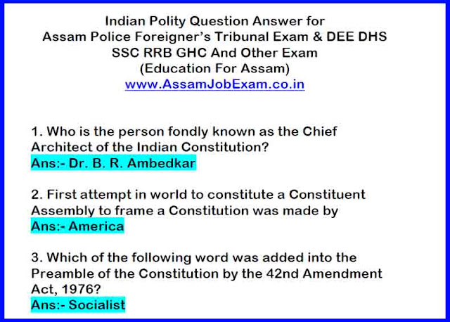 GK Question Answer PDF For DEE Exam, DHS FW, DHS, DME, Assam