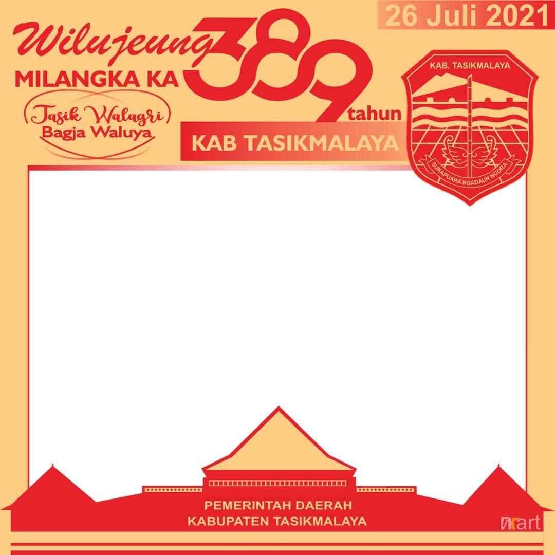 Desain Template Background Frame Bingkai Twibbon Ulang Tahun ke-389 Kabupaten Tasikmalaya Tahun 2021