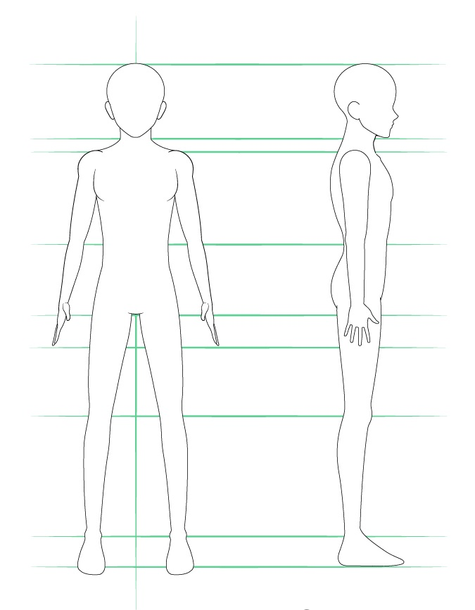 Menggambar tubuh pria anime