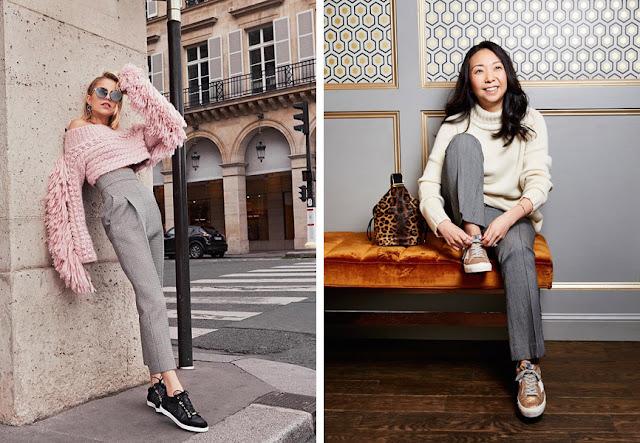 Сникеры в образах для работы с брюками и свитером
