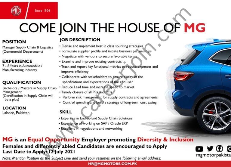 hr@mgmotors.com.pk - MG Motor Pakistan Jobs 2021 in Pakistan