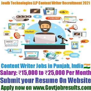 Jowib Technologies Content Writer Recruitment 2021-22