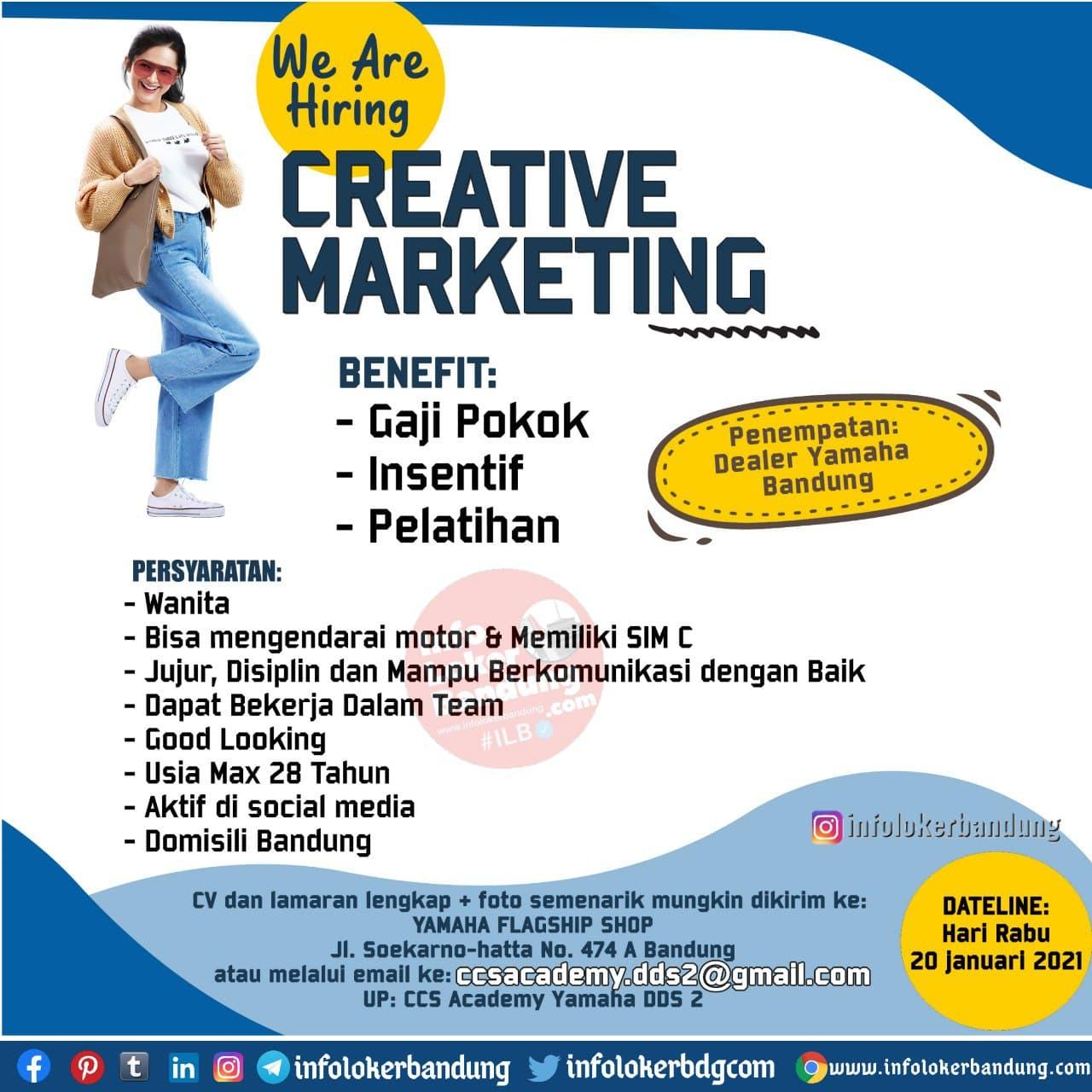 Lowongan Kerja Creative Marketing Yamaha Flagship Shop Bandung Januari 2021