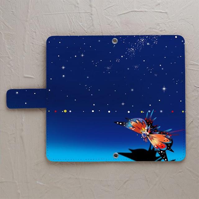 イラスト制作、手帳型スマホケース、星空、蝶々、うさぎ