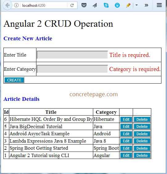 Spring Boot REST + Angular 2 + JPA + Hibernate + MySQL CRUD