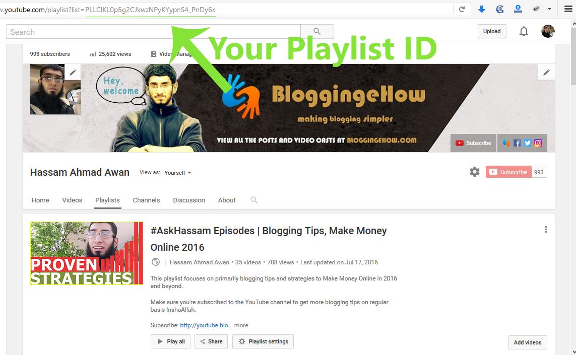youtube playlist player ID