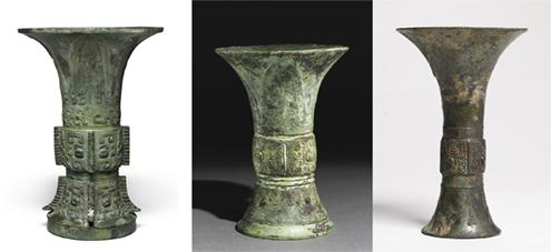 3 objetos Zun de la dinastía Ming, China