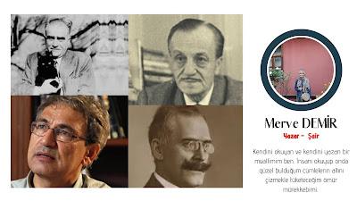 Fotoğrafta sırasıyla Ahmet Hamdi TANPINAR, Necip Fazıl KISAKÜREK, Orhan PAMUK ve Knut HAMSUN'u görüyorsunuz.