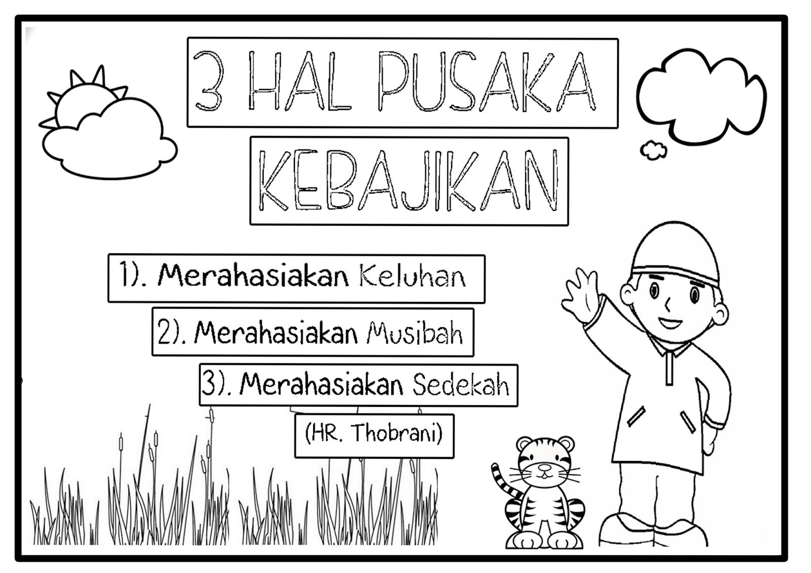 Hari ini TPA Uswatun Hasanah berbagi gambar unutk mewarnai Dengan Ukuran Kertas A4